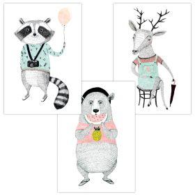 3er Set Wandbilder für Baby & Kinderzimmer